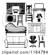 Clipart Of Black And White Household Furniture Pieces Royalty Free Vector Illustration