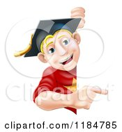 Cartoon Of A Happy Blond Graduate Man Pointing To A Sign Royalty Free Vector Clipart