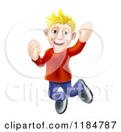 Cartoon Of A Happy Casual Blond Man Jumping And Cheering Royalty Free Vector Clipart
