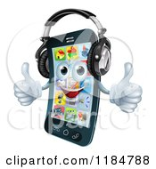 Cartoon Of A Pleased Smart Phone Holding Two Thumbs Up And Wearing Headphones Royalty Free Vector Clipart