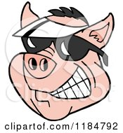 Cartoon Of A Grinning Pig Wearing A White Sun Visor Hat And Sunglasses Royalty Free Vector Clipart