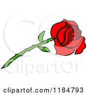 Cartoon Of A Long Stemmed Red Rose Royalty Free Vector Clipart by LaffToon