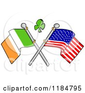 Cartoon Of A Shamrock Over Crossed Irish And American Flags Royalty Free Vector Clipart by LaffToon
