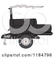 Cartoon Of A Bbq Grill With Smoke Royalty Free Vector Clipart