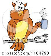 Cartoon Of A Tired Perched Owl Holding A Coffee Cup Royalty Free Vector Clipart