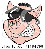 Cartoon Of A Grinning Pig Wearing A Sun Visor Hat And Sunglasses Royalty Free Vector Clipart