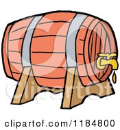 Cartoon Of A Barrel Beer Keg With A Dripping Faucet Royalty Free Vector Clipart by LaffToon