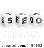 Clipart Of 3d Black And White Cubes Spelling SEO Royalty Free Vector Illustration