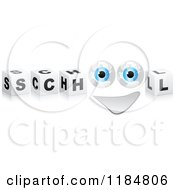 Clipart Of 3d Black And White Cubes And A Globe Eyed Face Spelling SCHOOL Royalty Free Vector Illustration