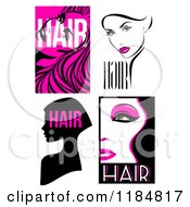 Clipart Of Black And Hot Pink Hair And Beauty Designs Royalty Free Vector Illustration