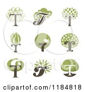 Clipart Of Letter T Tree Designs Royalty Free Vector Illustration