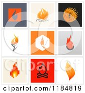 Clipart Of Flame Designs Royalty Free Vector Illustration by elena