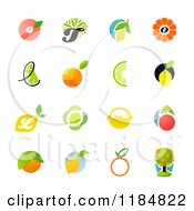 Clipart Of Citrus Fruit Designs Royalty Free Vector Illustration by elena