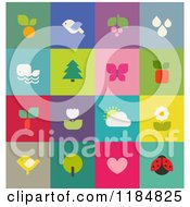 Clipart Of Colorful Nature And Wildlife Icons Royalty Free Vector Illustration