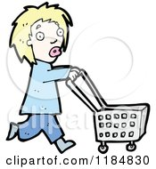 Cartoon Of A Woman Pushing A Shopping Cart Royalty Free Vector Illustration by lineartestpilot