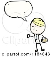 Cartoon Of A Stick Boy Speaking Royalty Free Vector Illustration