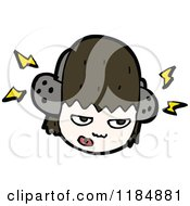 Cartoon Of A Girl Listening To Headphones Royalty Free Vector Illustration by lineartestpilot