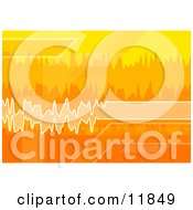 Orange White And Yellow Sound Waves Clipart Illustration