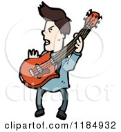 Cartoon Of A Man Playing A Guitar Royalty Free Vector Illustration by lineartestpilot