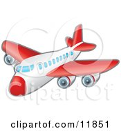 Red And White Passenger Airplane Clipart Illustration by AtStockIllustration
