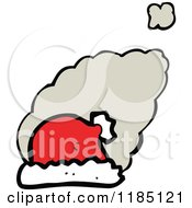 Cartoon Of A Santa Hat And Dust Puffs Royalty Free Vector Illustration