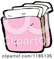 Cartoon Of A Pink File Folder Royalty Free Vector Illustration by lineartestpilot