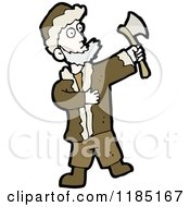 Cartoon Of A Man With A Hachet Royalty Free Vector Illustration