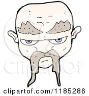 Cartoon Of A Bald Man With A Mustache Royalty Free Vector Illustration