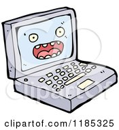 Cartoon Of A Computer With A Face Royalty Free Vector Illustration by lineartestpilot