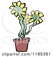 Cartoon Of Yellow Flowers In A Pot Royalty Free Vector Illustration