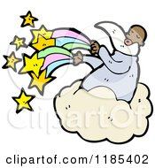 Cartoon Of An African American God In The Heavens With Stars And A Rainbow Royalty Free Vector Illustration by lineartestpilot