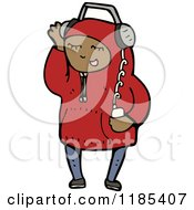 Cartoon Of A Child Wearing A Hoodie Listening To Music Royalty Free Vector Illustration