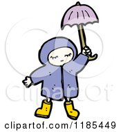 Cartoon Of A Child Wearing A Raincoat Holding An Umbrella Royalty Free Vector Illustration