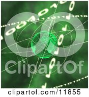 Binary Coding Forming Rings Around Green Earth Clipart Picture by AtStockIllustration