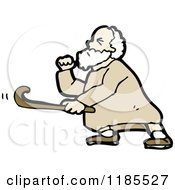 Cartoon Of An Elderly Man With A Cane Royalty Free Vector Illustration