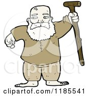 Cartoon Of An Old Man With A Walking Stick Royalty Free Vector Illustration