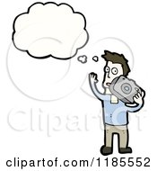 Cartoon Of A Man Holding A Boombox Thinking Royalty Free Vector Illustration