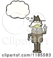Cartoon Of A Man Wearing A Hat Thinking Royalty Free Vector Illustration