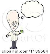 Cartoon Of A Bald Scientist Thinking Royalty Free Vector Illustration