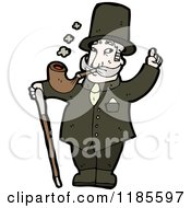 Cartoon Of A Man With A Cane Smoking A Pipe Royalty Free Vector Illustration