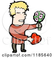 Cartoon Of A Man In Love With Flowers And Chocolates Royalty Free Vector Illustration