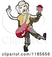 Cartoon Of An Older Man Playing A Guitar Royalty Free Vector Illustration by lineartestpilot