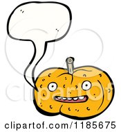 Cartoon Of A Pumpkin Speaking Royalty Free Vector Illustration