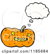 Cartoon Of A Jack O Lantern Thinking Royalty Free Vector Illustration
