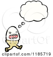 Cartoon Of An Egg In An Egg Cup Thinking Royalty Free Vector Illustration