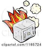Cartoon Of A Burning Safe Royalty Free Vector Illustration