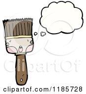 Cartoon Of A Thinking Paintbrush Royalty Free Vector Illustration