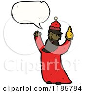 Cartoon Of An African American King Speaking Royalty Free Vector Illustration by lineartestpilot