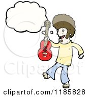 Cartoon Of A Man Holding A Guitar Thinking Royalty Free Vector Illustration