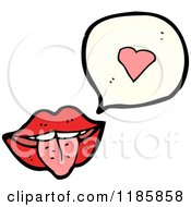 Cartoon Of A Mouth And Tongue Speaking Of Love Royalty Free Vector Illustration